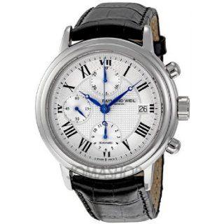 Raymond Weil Mens 7737 STC 00659 Maestro Black Leaher Strap Watch
