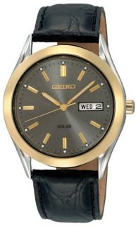 Seiko Mens SNE050 Solar Strap Charcoal Dial Watch Watches