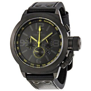 TW Steel Mens TW900 Cool Black Black Leather Strap Watch Watches