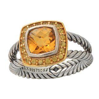 David Yurman 3ct Citrine 18k Yellow Gold & Sterling Silver Ring
