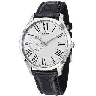 Zenith Mens 032010681.11C Class EL New Black Leather Strap Watch