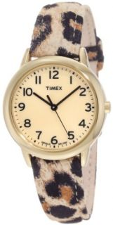 Timex Womens T2N966 Elevated Classics Leopard Patterned Strap Watch