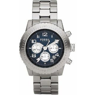 Fossil Mens CH2627 Silver Stainless Steel Quartz Watch with Blue Dial