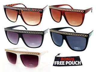 Womens Retro Flat Top Chain Sunglasses Full Color Options P1340 + Free
