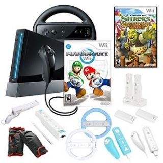 NINTENDO Wii MARIO KART HOLIDAY Fun Bundle w/ Games and Accessories