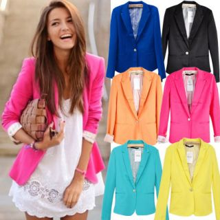 Women Casual Candy Coloured One Button Blazer Suit Jacket 6 Color XS,M