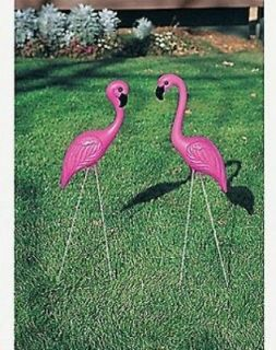 LARGE PINK FLAMINGO BIRDS YARD ORNAMENT GARDEN STAKES