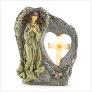 Sentinel Angel religiuos stone look solar garden statue sculpture new