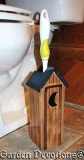 Country Lodge Theme OUTHOUSE TOILET BRUSH HOLDER Rustic & Fun