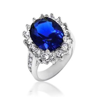 Bling Jewelry Kate Middleton Diana Ring Oval Blue Sapphire