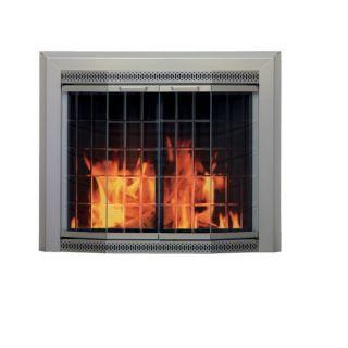 Shop Pleasant Hearth 37 1 2 Sunlight Nickel Glass Fireplace Door At
