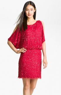 Aidan Mattox Bloused Sequin Cold Shoulder Dress