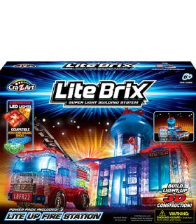 Cra Z Art Lite Brix Building System   Fire Rescue Station   CRA Z ART
