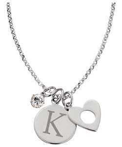 Buy Sterling Silver Initial Charm Pendant   Letter K at Argos.co.uk