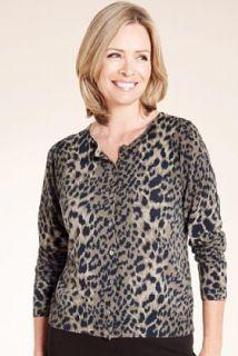 Classic Collection Cashmilon™ Leopard Print Cardigan   Marks