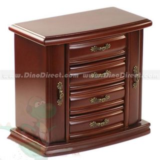 Wholesale Archaistic Solid Wood Casket Cabinet Mirrored Jewelry Box