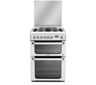 Buy HOTPOINT HUD61P Dual Fuel Cooker   White  Free Delivery  Currys