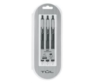 TUL GL3 Gel Pen Retractable Needle Point Fine 0.5mm, Black 3pk