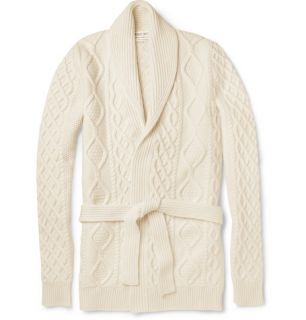 Michael Bastian Cable Knit Wool and Cashmere Blend Cardigan  MR