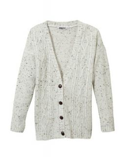 White Pattern (White) Teens White Flecked Cable Knit Cardigan