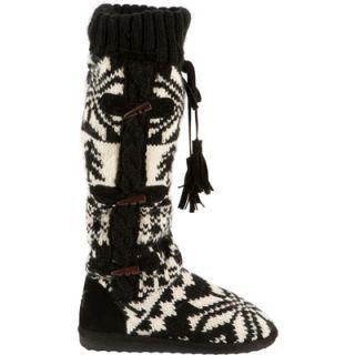 Muk Luks Womens Mishka Side Button Detail Tall Knit Boot Slippers