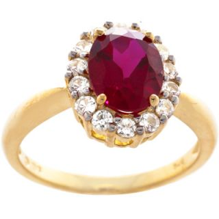 Oval Created Ruby and White Sapphire Ring in Gold Over Silver  Meijer