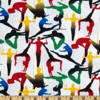 Go For Gold Gymnastics White   Discount Designer Fabric   Fabric