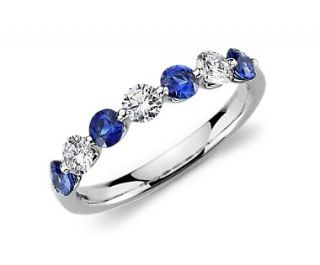 Classic Floating Sapphire and Diamond Ring in Platinum  Blue Nile
