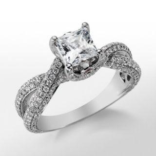 Monique Lhuillier Twist Trellis Engagement Ring in Platinum  Blue