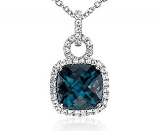 London Blue Topaz and White Sapphire Halo Cushion Cut Pendant in