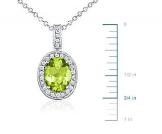 Oval Peridot and Diamond Pendant in 18k White Gold (8x6 mm)  Blue
