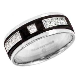 Mens 1/4 CT. T.W. Diamond Wedding Band in Two Tone Stainless Steel