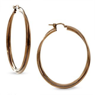 Chocolate Sterling Silver Large Twisted Tube Hoop Earrings   Clearance