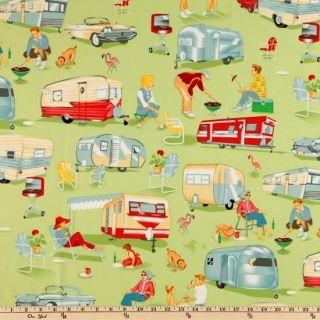 Michael Miller Trailer Travel Camp Multi   Discount Designer Fabric