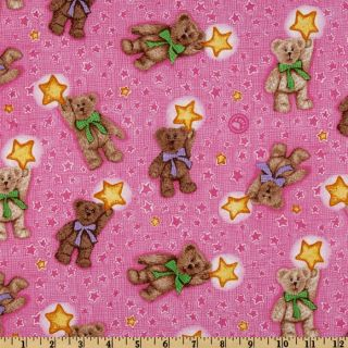 Boyds Bears Tossed Bear With Stars Pink   Discount Designer Fabric