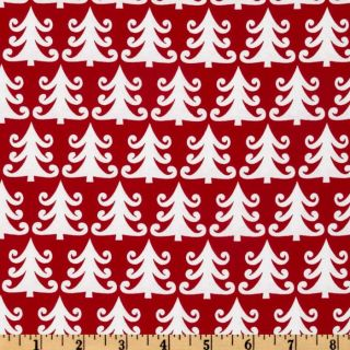 Michael Miller Nordic Holiday Tree Farm Red   Discount Designer Fabric