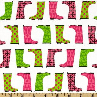 Jack & Jenny Rain Boots Petal   Discount Designer Fabric   Fabric