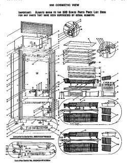 Model # 550S Sub zero Refrigerator   550 system view (7 parts)