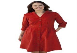 Plus Size Corduroy shirtdress  Plus Size Casual Dresses  Woman