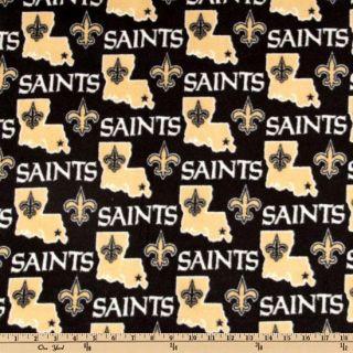 NFL Fleece New Orleans Saints Black   Discount Designer Fabric