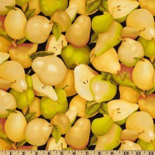 Farmer Johns Garden Pears Black   Discount Designer Fabric   Fabric