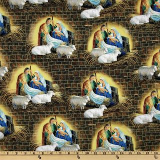 Away In A Manger Scene Yellow/Blue   Discount Designer Fabric