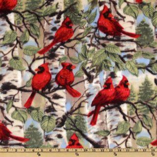 WinterFleece Red Bird   Discount Designer Fabric   Fabric