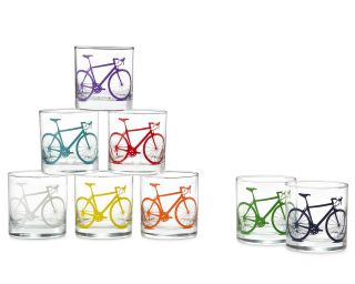 BICYCLE GLASSES   SET OF 8  Drinking Glasses for Cyclists