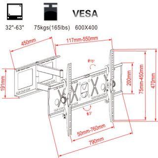 Free View 32 63 165LB Full Motion Swivel Tilting LCD LED Plasma TV