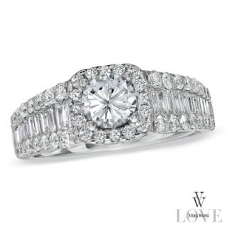 Vera Wang LOVE Collection 2 CT. T.W. Diamond Framed Engagement Ring in