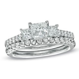 CT. T.W. Princess Cut Celebration Diamond® Three Stone Ring in