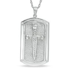 Mens Diamond Accent Sword Dog Tag Pendant in Sterling Silver   Zales