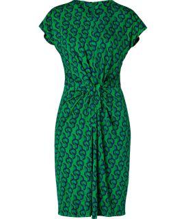 Issa Green/Royal Printed Tie Front Silk Jersey Dress  Damen  Kleider