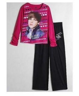 Justin BIEBER Cute HAIRCUT Fushia Pink Shirt Pants PAJAMAS Pjs 7/8 NeW